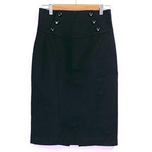 Worthington Black Button Career Black Pencil Skirt